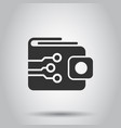digital wallet icon in flat style crypto bag on vector image vector image