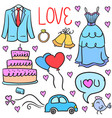 element wedding party doodles style vector image vector image