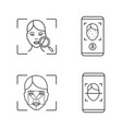 facial recognition linear icons set vector image vector image