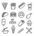 fast food line icons set on white background vector image