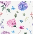 Floral seamless pattern with Blooming Hydrangea vector image vector image