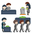 funeral scene with many sad people vector image