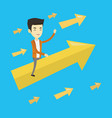 happy business man flying to success vector image