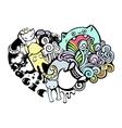 happy cats in love doodle art vector image vector image