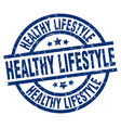 healthy lifestyle blue round grunge stamp vector image vector image