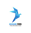 logo origami fowl gradient colorful origami style vector image