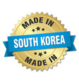 made in South Korea gold badge with blue ribbon vector image vector image