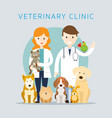 Male amp female veterinarian with pets vector image