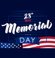 memorial day 28 may navy blue banner vector image vector image