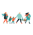 merry christmas greeting card with people walking vector image vector image