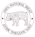 Natural meat stamp with pig vector image vector image