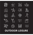 outdoor leisure editable line icons set on vector image