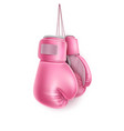 pink pair boxing glove on lace realistic vector image vector image