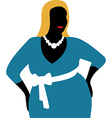 Plus size woman in blue dress vector image