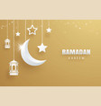 ramadan kareem greeting card moon and stars vector image vector image