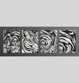 set creative black and silver marble cards vector image