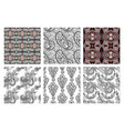 set hand drawing ornate seamless flower paisley vector image