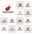 set hot food logo concept red chili logo vector image vector image