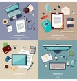 Set of 2x2 banners of home workspace Flat design vector image vector image