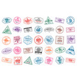 set of travel visa stamps for passports abstract vector image vector image