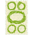 set of wreaths green stylized leaves vector image vector image
