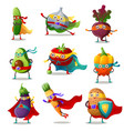 set vegetables in traditional costumes of vector image vector image