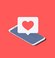 smartphone and push notification with heart vector image