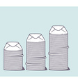 stacks of white closed envelopes on color vector image vector image