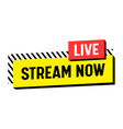 stream now live streaming banner label or emblem vector image