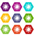 sun icons set 9 vector image vector image