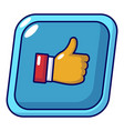 thumbs up icon cartoon style vector image vector image