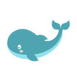 with cartoon whale isolated on white vector image