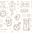 seamless pattern doodle sketch clocks and watches vector image