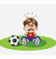 child playing football in the ground vector image