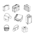 suitcases on white background vector image