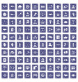 100 team icons set grunge sapphire vector image vector image