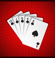 a royal flush of spades on red background winning vector image vector image