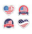 american flag day sticker in round and heart shape vector image vector image