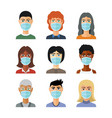 avatars in medical masks in flat style vector image vector image
