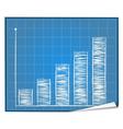 Bar graph blueprint vector image vector image