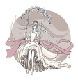 Beautiful bride on a swing vector image