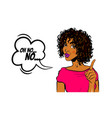 black woman pop art wow face show finger no vector image vector image