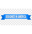 blue ribbon with designed in america title vector image