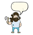 cartoon lumberjack with axe with speech bubble vector image vector image