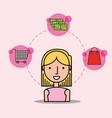 Cartoon woman customer shopping cart money bag