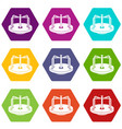 children merry go round icon set color hexahedron vector image vector image
