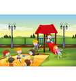 Children playing together in the playground vector image