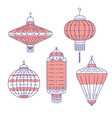 chinese traditional lanterns different form vector image vector image