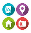 collection internet icons on round web buttons vector image
