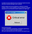 critical error system message on blue screen vector image vector image